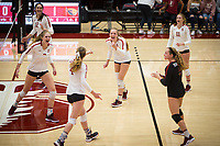 Stanford, CA - November 1, 2019: Audriana Fitzmorris, Holly Campbell, Meghan McClure, Jenna Gray, Morgan Hentz, Kate Formico at Maples Pavilion. The No. 5 Stanford Cardinal swept the Oregon State Beavers 3-0.