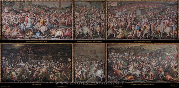 East and West Battle Frescoes Vasari Salone dei Cinquecento (Hall of 500) Palazzo Vecchio Florence