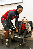 Harvey Doke meets Renato Sanches at The Fairwood Training Ground, Swansea, Wales, UK. Wednesday 20 December 2017
