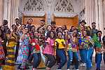 DukeAFRICA students dance to modern African music while striking poses for various photos and videos in front of the Chapel during their African Attire Day as part of DukeAFRICA week.