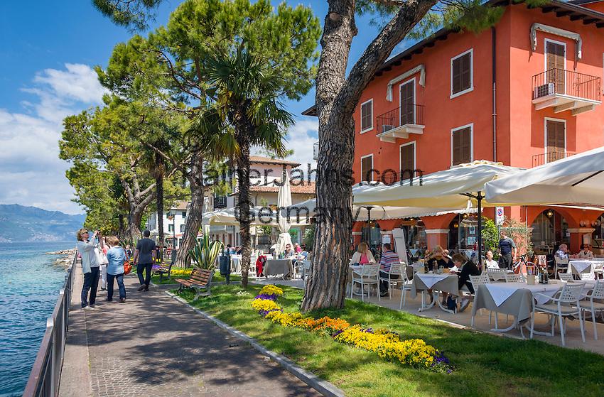 Italy, Veneto, Lake Garda, Torri del Benaco: small harbour at East Bank of Lake Garda - lakeside promenade   Italien, Venetien, Gardasee, Torri del Benaco: kleiner Hafen am Ostufer des Gardasees - Seepromenade