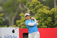 Moriya Jutanugarn (THA) in action on the 3rd during Round 2 of the HSBC Womens Champions 2018 at Sentosa Golf Club on the Friday 2nd March 2018.<br /> Picture:  Thos Caffrey / www.golffile.ie<br /> <br /> All photo usage must carry mandatory copyright credit (&copy; Golffile | Thos Caffrey)
