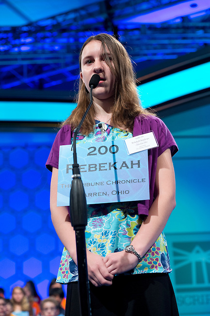 Speller 200 Rebekah Stanhope competes in the preliminary rounds of the Scripps National Spelling Bee at the Gaylord National Resort and Convention Center in National Habor, Md., on Wednesday,  May 30, 2012. Photo by Bill Clark