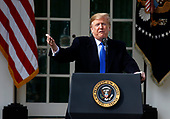 """President Donald J. Trump delivers remarks on the """"National Security and Humanitarian Crisis on the Southern Border"""" during a Rose Garden event at the White House, in Washington, DC, 2-15-19.United States President Donald J. Trump makes remarks as he declares a National Emergency over the southern border and the need for border security during an appearance in the Rose Garden of the White House in Washington, DC on Friday, February 15, 2019.<br /> Credit: Martin H. Simon / CNP"""