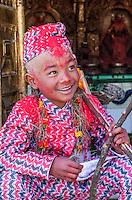 Nepal, Changu Narayan.  A Nine-year-old Hindu Boy Participating in his Bratabandha Ceremony Marking his Entry into Manhood.