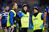 Byron Field, Dr. Jo Larkin and Cerian Parham of Bath Rugby look on. Gallagher Premiership match, between Bath Rugby and Sale Sharks on December 2, 2018 at the Recreation Ground in Bath, England. Photo by: Patrick Khachfe / Onside Images
