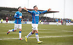 Fraser Aird celebrates his late winner for Rangers at Gayfield with Nicky Clark
