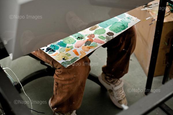 GDANSK, 30/05/2016:<br /> Estonian painter Maria Heinsoo is working at her box at the production venue of &quot;Loving Vincent,&quot; an animated film being made in Poland about Vincent Van Gogh that's using oil-painted cels. At the moment she is painting cel featuring actor Douglas Booth playing actor Douglas Booth playing Armand Roulin.<br /> (Photo by Piotr Malecki / Napo Images)<br /> <br />  <br /> ####<br /> GDANSK, 30/05/2016:<br /> Produkcja filmu &quot;Twoj Vincent&quot; - pierwszego w historii filmu animowanego skladajacego sie w calosci z klatek osobno malowanych na plotnie przez dziesiatki zatrudnionych w tym celu malarzy z calego swiata.<br /> (Fot: Piotr Malecki dla NYT / Napo Images /  Napo Images) <br /> <br /> <br /> ### Zakaz publikacji w negatywnym kontekscie. Cena minimalna: 100 PLN ### Zakaz publikacji w Gazecie Polskiej ###
