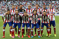 Moya, Juanfran, Godin, Miranda, Siqueira, Gabi, Tiago, Koke, Raul Garcia; Raul Jiménez and Mandzukic of Atletico de Madrid during La Liga match between Real Madrid and Atletico de Madrid at Santiago Bernabeu stadium in Madrid, Spain. September 13, 2014. (ALTERPHOTOS/Caro Marin)
