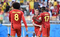 FUSSBALL WM 2014  VORRUNDE    Gruppe H     Belgien - Algerien                       17.06.2014 Marouane Fellaini, Kevin De Bruyne und Divock Origi (v.l., alle  Belgien) jubeln nach dem Abpfiff