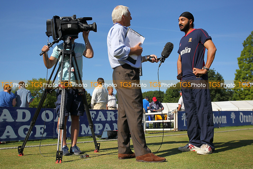 New Essex signing Monty Panesar speaks to the media on his arrival at Castle Park - Essex CCC vs Northamptonshire CCC - LV County Championship Division Two Cricket at Castle Park, Colchester Cricket Club - 20/08/13 - MANDATORY CREDIT: Gavin Ellis/TGSPHOTO - Self billing applies where appropriate - 0845 094 6026 - contact@tgsphoto.co.uk - NO UNPAID USE