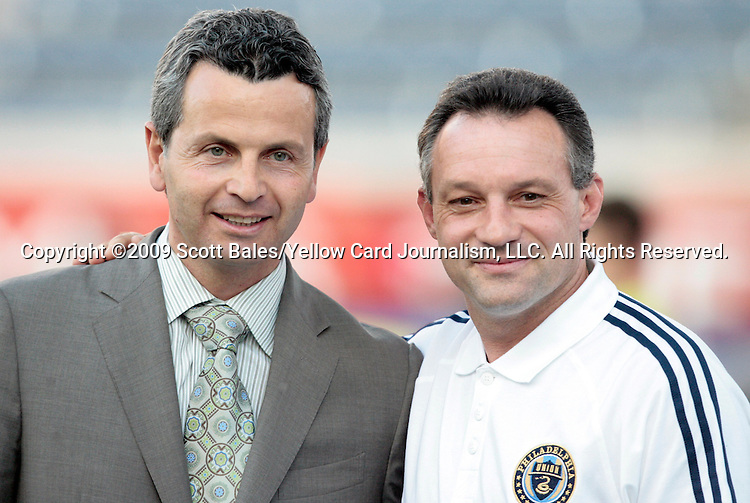 05 June 2009: Former Fire players Frank Klopas (left) and Peter Nowak (right). Nowak was just named the head coach of the 2010 MLS expansion Philadelphia Union. The Houston Dynamo defeated the Chicago Fire 1-0 at Toyota Park in Bridgeview, Illinois in a regular season Major League Soccer game.
