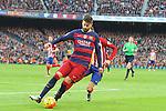 30.01.2016 Camp Nou, Barcelona, Spain. La Liga day 22 match between FC Barcelona and Atletico de Madrid. Gerard Pique stole the ball