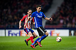Andrija Pavlovic (R) of FC Copenhague battles for the ball with Diego Roberto Godin Leal of Atletico de Madrid during the UEFA Europa League 2017-18 Round of 32 (2nd leg) match between Atletico de Madrid and FC Copenhague at Wanda Metropolitano  on February 22 2018 in Madrid, Spain. Photo by Diego Souto / Power Sport Images