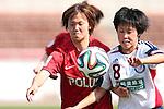 (L to R) <br /> Ruka Norimatsu (Reds), <br /> Saori Arimachi (Belle), <br /> MAY 4, 2014 - Football /Soccer : <br /> Plenus Nadeshiko League 2014 <br /> between Urawa Reds Ladies 1-3 Okayama Yunogo Belle <br /> at Saitama Urawa Komaba Stadium, Saitama, Japan. <br /> (Photo by AFLO SPORT) [1205]