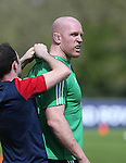 British & Irish Lions training session.Paul O'Connell having a tracking device fitted to his shirt before taking part in the Lions first training session in Wales..Vale Resort.15.05.13.©Steve Pope