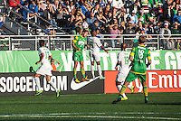 HEMPSTEAD, NY – SEPTEMBER 29: The New York Cosmos and Tampa Bay Rowdies battle for an aerial ball during an NASL match on September 29, 2013 at  Shuart Stadium in Hempstead, New York.