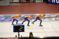 SPEEDSKATING: SALT LAKE CITY: 08-12-2017, Utah Olympic Oval, ISU World Cup, Team Pursuit Ladies, Team Nederland, Melissa Wijfje, Marrit Leenstra, Lotte van Beek, NR 2.55,57, ©photo Martin de Jong