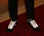 Austin P. McKenzie, shoe detail,  attends Broadway Red Carpet Premiere of 'Speech & Debate'  at the American Airlines Theatre on April 2, 2017 in New York City.