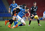 St Johnstone v Kilmarnock....09.01.16  Scottish Cup  McDiarmid Park, Perth<br /> Steven MacLean is fouled by Conrad Balatoni<br /> Picture by Graeme Hart.<br /> Copyright Perthshire Picture Agency<br /> Tel: 01738 623350  Mobile: 07990 594431
