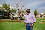 Abasi Ene-Obong is enrolled in Keck Graduate Institute's postdoctoral professional master's degree program studying bioscience management. He's seen on the campus of Keck Graduate Institute in Claremont, California, January 29, 2014.