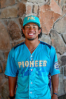 Jahmai Jones (15) of the Orem Owlz and the Pioneer League All-Stars poses for a photo during activities before the 2nd Annual Northwest League-Pioneer League All-Star Game at Snowbasin Resort on August 1, 2016 in Ogden, Utah. (Stephen Smith/Four Seam Images)