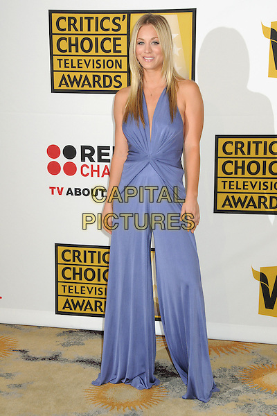 Kaley Cuoco.1st Annual Critics' Choice Television Awards held at The Beverly Hills Hotel, Beverly Hills, California, USA, .20th June 2011..full length blue purple wide leg catsuit pantsuit jumpsuit  halterneck d.CAP/ADM/BP.©Byron Purvis/AdMedia/Capital Pictures.
