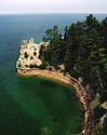Miner's Castle in Pictured Rocks National Lakeshore MI with two towers, summer 1996
