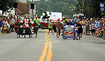 An early heat between two enties in The Great Saugerties Bed Race on Partition Street in Saugerties, NY on Saturday, August 6, 2011. Photo by Jim Peppler. Copyright Jim Peppler/2011.