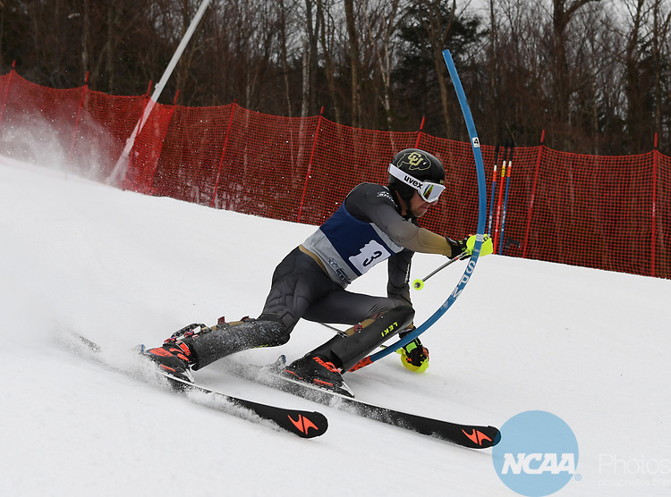 FRANCONIA, NH - MARCH 10:   David Ketterer of the University of Colorado competes during the Men's Slalom event at the Division I Men's and Women's Skiing Championships held at Cannon Mountain on March 10, 2017 in Franconia, New Hampshire. (Photo by Gil Talbot/NCAA Photos via Getty Images)