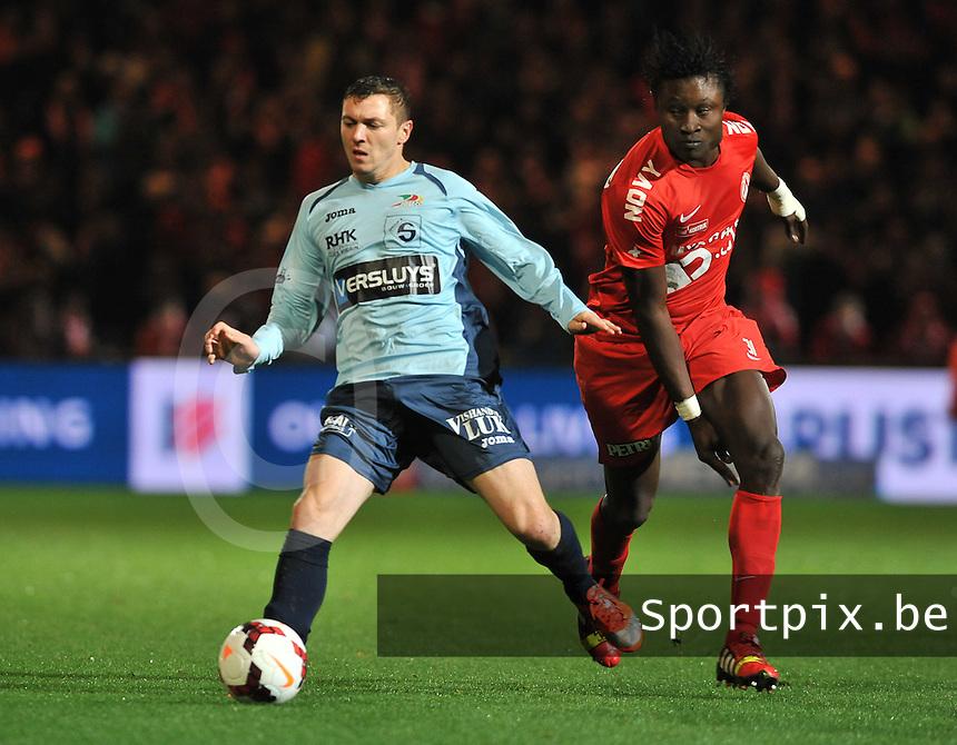 KV Kortrijk - KV Oostende : Yohan Brouckaert vlugger op de bal dan Elimane Coulibaly (rechts)<br /> foto VDB / Bart Vandenbroucke