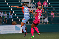 Rochester, NY - Saturday Aug. 27, 2016: Cami Privett, Lynn Williams during a regular season National Women's Soccer League (NWSL) match between the Western New York Flash and the Houston Dash at Rochester Rhinos Stadium.