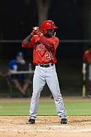 AZL Angels left fielder D'Shawn Knowles (20) at bat during an Arizona League game against the AZL Dodgers at Camelback Ranch on July 8, 2018 in Glendale, Arizona. The AZL Dodgers defeated the AZL Angels by a score of 5-3. (Zachary Lucy/Four Seam Images)