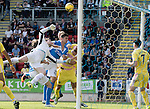St Johnstone v Hearts…17.09.16.. McDiarmid Park  SPFL<br />Jack Hamilton and Perry Kitchen combine to block Graham Cummins<br />Picture by Graeme Hart.<br />Copyright Perthshire Picture Agency<br />Tel: 01738 623350  Mobile: 07990 594431