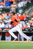 Baltimore Orioles infielder Ryan Flaherty (3) during a spring training game against the Pittsburgh Pirates on March 23, 2014 at Ed Smith Stadium in Sarasota, Florida.  Baltimore and Pittsburgh tied 7-7.  (Mike Janes/Four Seam Images)