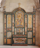 Altarpiece originally from the Mathurins Convent at Gisors, with the crucifixion and adoration of the trinity triangle by angels, sculpted from painted and gilded wood, early 18th century, at the Collegiate Church of Saint-Gervais-Saint-Protais, built 12th to 16th centuries in Gothic and Renaissance styles, in Gisors, Eure, Haute-Normandie, France. The church was consecrated in 1119 by Calixtus II but the nave was rebuilt from 1160 after a fire. The church was listed as a historic monument in 1840. Picture by Manuel Cohen