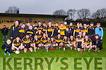 Dr Crokes captain Gavin O'Shea, his teammates and management celebrate after they defeated Lispole, Annuascaul, Castlegregory in the club u21 final in Lewis Road on Saturday