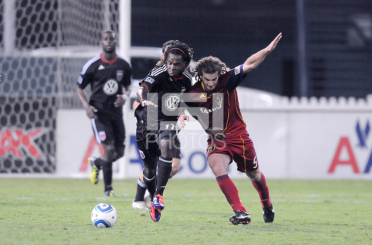 D.C. United forward Joseph Ngwenya (11) goes against Real Salt Lake midfielder Kyle Beckerman (5). D.C. United defeated Real Salt Lake 4-1 at RFK Stadium, Saturday September 24 , 2011.