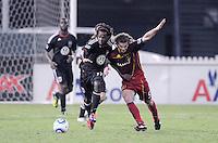 D.C. United forward Joseph Ngwenya (11) goes against Real Salt Lake midfielder Kyle Beckerman (5). D.C. United defeated Real Salt Lake 4-1 at RFK Stadium, Saturday September 24 , 2011.
