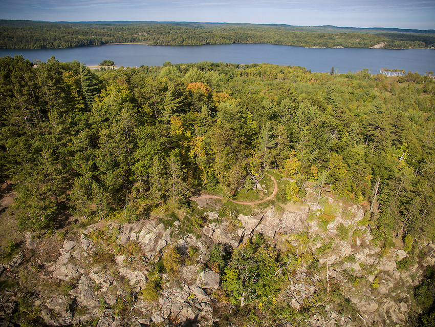 Drone shot of the Panorama Trail of the RAMBA trail network in Negaunee and Ishpeming Michigan.