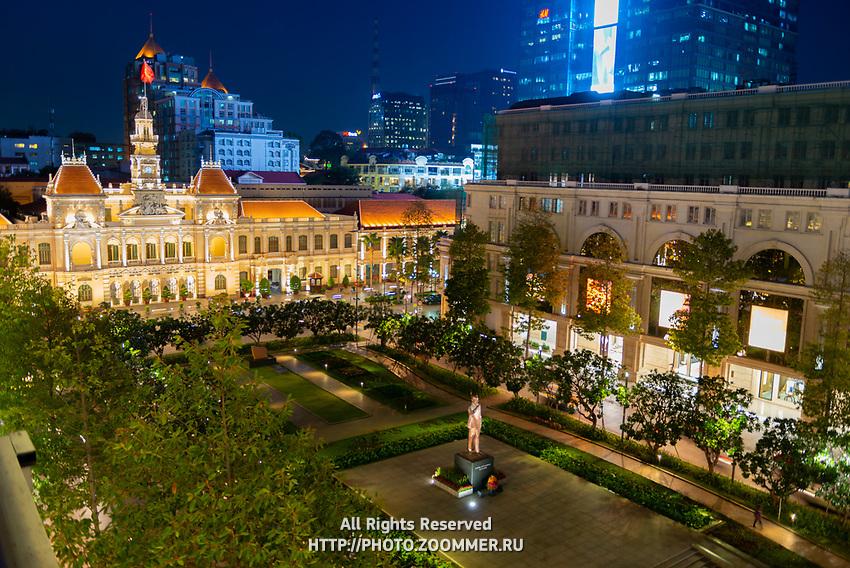 Ho Chi Minh Statue And City Hall At Night