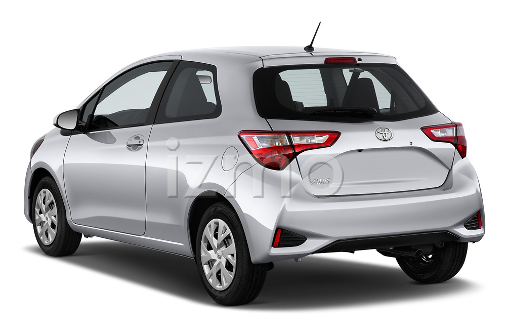 Car pictures of rear three quarter view of a 2018 Toyota Yaris L 3-Door Liftback 3 Door Hatchback angular rear