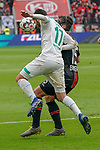 17.03.2019, BayArena, Leverkusen, GER, 1. FBL, Bayer 04 Leverkusen vs. SV Werder Bremen,<br />  <br /> DFL regulations prohibit any use of photographs as image sequences and/or quasi-video<br /> <br /> im Bild / picture shows: <br /> Nuri Sahin (Werder Bremen #17), im Zweikampf gegen  Julian Baumgartlinger (Leverkusen #15), <br /> <br /> Foto © nordphoto / Meuter