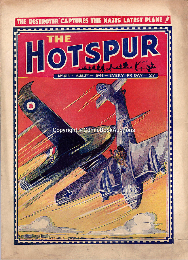 BNPS.co.uk (01202 558833)<br /> Pic: ComicBookAuctions/BNPS<br /> <br /> Amazingly even as early as 1941 the Hotspur was featuring a rocket powered jet called 'The Destroyer' piloted by a Captain Dan Blade taking on the Hun.<br /> <br /> Hearts and minds - Collection of wartime comics reveals the British response to the Nazi propaganda machine during WW2.<br /> <br /> The Nazi's may have had the Hitler youth but an amazing collection of wartime comics reveals how Britain fought for the hearts and minds of its children through the unlikely pages of the Beano and Hotspur.<br /> <br /> Although comic books were in their infancy at the outbreak of the war, the industry quickly got behind the war effort.<br /> <br /> A collection of popular boys' publications due to appear at auction have revealed the extent of the propaganda effectuated by British media.  <br /> <br /> Their bold front covers and story lines made every effort to ridicule Hitler and his henchmen and promote the plucky British underdog and the fast changing technology of War.<br /> <br /> The online sale of the wartime comics by London auctioneer Comic Book Auctions will end on September 4.