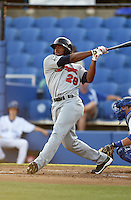 Brevard County Manatees outfielder Victor Roache (28) during a game against the Dunedin Blue Jays on April 11, 2014 at Florida Auto Exchange Stadium in Dunedin, Florida.  Brevard County defeated Dunedin 5-2.  (Mike Janes/Four Seam Images)