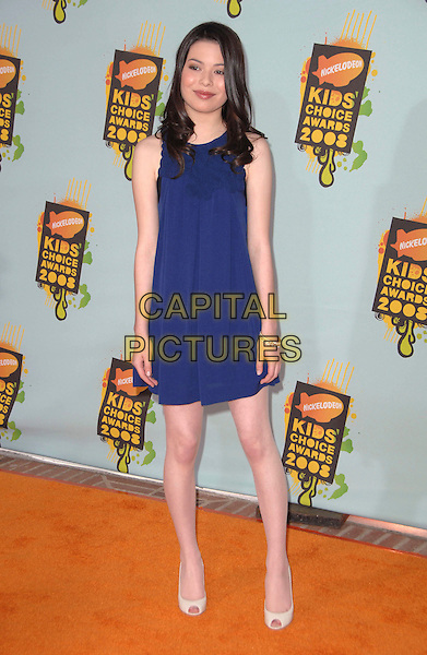 MIRANDA COSGROVE .Attends The 2008 Kids Choice Awards held at Pauley Pavilion in Westwood, California, USA, March 29th 2008.                                                                     full length blue dress.CAP/DVS.©Debbie VanStory/Capital Pictures