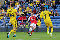 Fleetwood Town's Ashley Hunter aims a shot towards goal<br /> <br /> Photographer David Shipman/CameraSport<br /> <br /> The EFL Sky Bet League One - Oxford United v Fleetwood Town - Saturday August 11th 2018 - Kassam Stadium - Oxford<br /> <br /> World Copyright &copy; 2018 CameraSport. All rights reserved. 43 Linden Ave. Countesthorpe. Leicester. England. LE8 5PG - Tel: +44 (0) 116 277 4147 - admin@camerasport.com - www.camerasport.com
