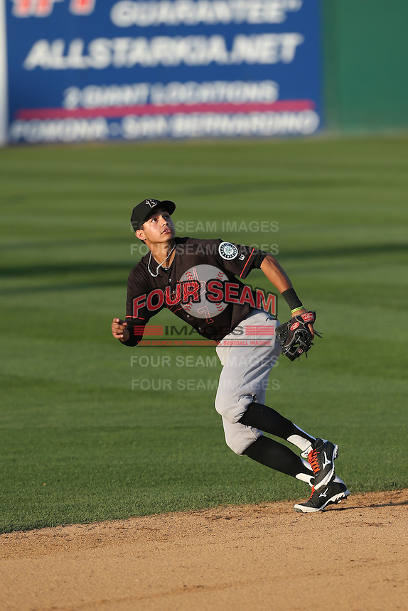 Luis Caballero (7) of the Bakersfield Blaze in the field during a game against  the Rancho Cucamonga Quakes at LoanMart Field on June 1, 2015 in Rancho Cucamonga, California. Rancho Cucamonga defeated Bakersfield, 5-2. (Larry Goren/Four Seam Images)