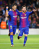 11th January 2018, Camp Nou, Barcelona, Spain; Copa del Rey football, round of 16, 2nd leg, Barcelona versus Celta Vigo; Leo Messi and Luis Suarez celebrate Messi's 2nd goal for 2-0 in the 15th minute
