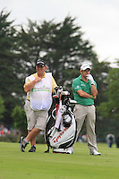 """Paul McGinley (IRL) waits with his caddy Jimmy """"Edinburgh"""" Rae on the 12th hole during Day 1 Thursday of The Irish Open presented by Discover Ireland at Killarney Golf & Fishing Club on 28th July 2011 (Photo Jenny Matthews/www.golffile.ie)"""